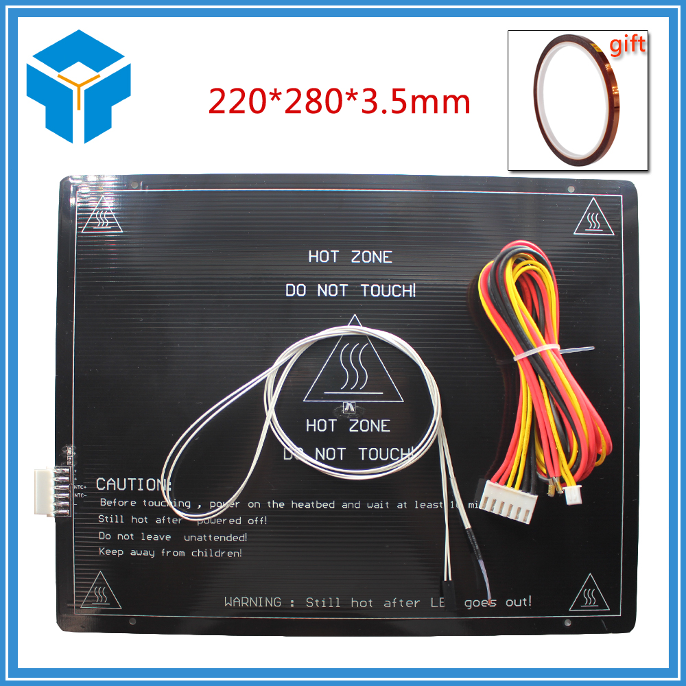 цена Heat bed Large build area 200*280*3.5mm Black Aluminium heat bed 3D Print Heat bed Hot Plate for 3D Printer part