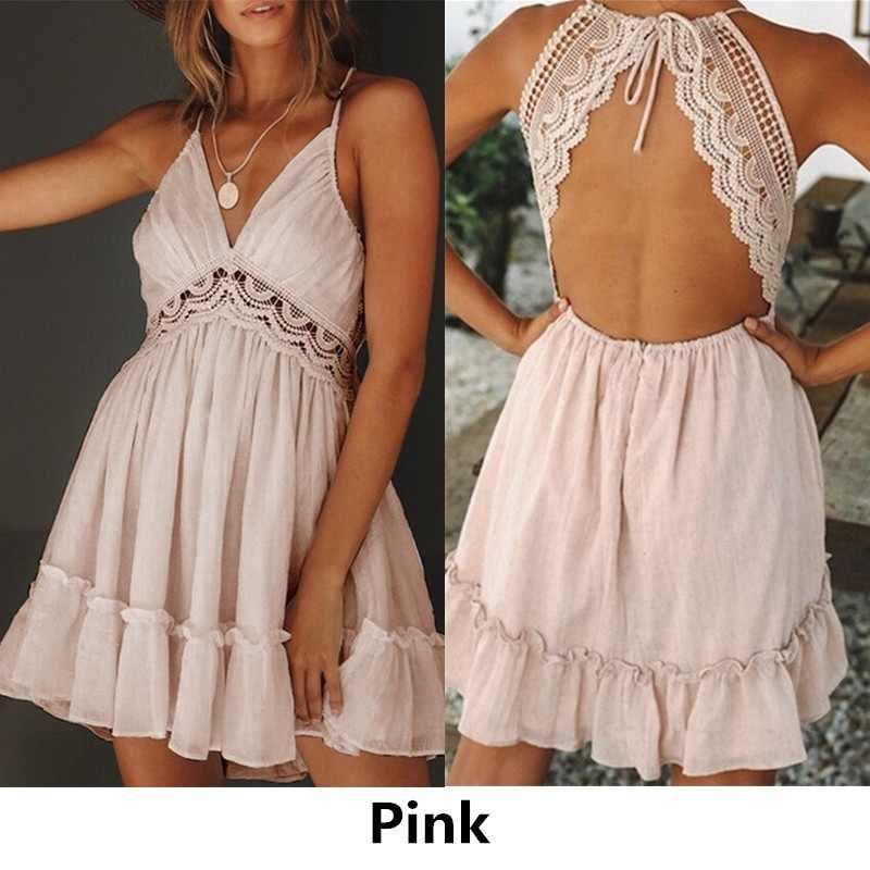 ed3cae0389b167 ... ZOGAA dziewczyny lato ramiączko spaghetti do sukienki łuk sukienki Sexy  kobiety bez rękawów plaża bez pleców ...
