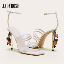 Jady Rose Genuine Leather Women Sandals Straps 10cm High Heel Shoes
