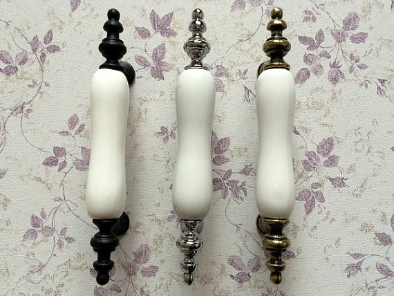 3 Ceramic Dresser Pull Drawer Handles Knobs White Silver Chrome Bronze Black Kitchen Cabinet Pulls Door Handle Furniture 76 mm 5 drawer knobs pull handles dresser knob pulls handles antique black silver furniture hardware kitchen cabinet door handle pull