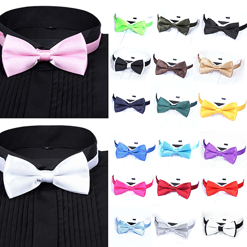 Arrival Mens Fashion Plain Bowtie Polyester Pre Tied Wedding Bow Tie Suits Tie ...