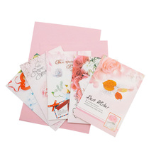 10pcs/lot Flower Blessing Small Greeting Card Random Pink Wedding Birthday Party Favor Travel Supply Girl Gift