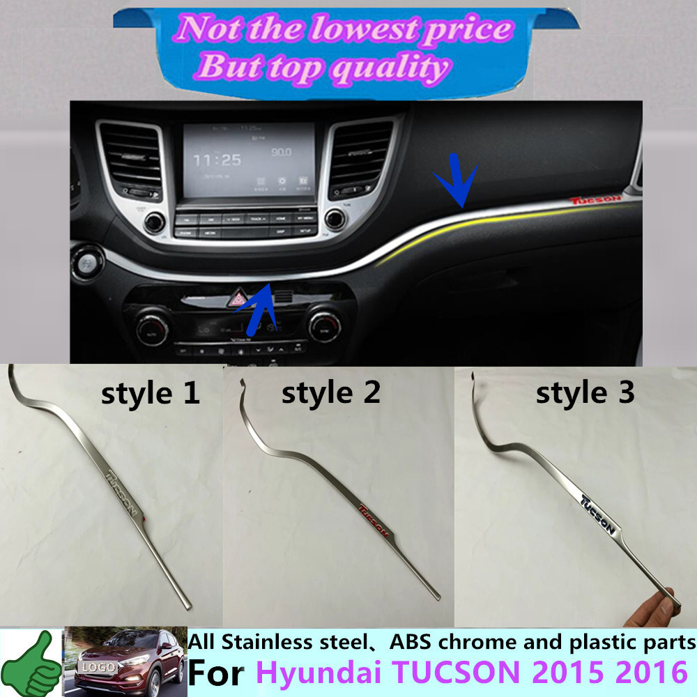 ФОТО For Hyunda1 Tucson 2015 2016 car cover detector stick stainless steel Middle Glove box front trim lamp trim 1pcs