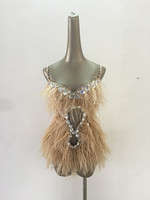 New Ostrich Feather Dance Costume Singer Clothing DJ Rhinestone Bodysuit Sexy Stage Costumes for Singers DS Performance Outfits