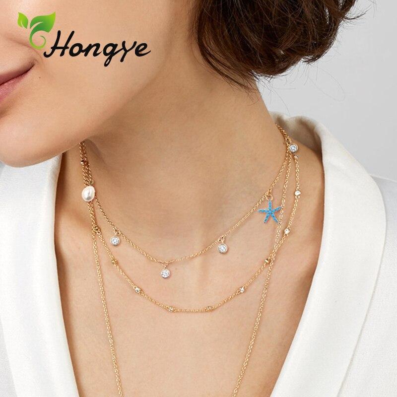 Hongye Baroque Pearls Necklace Jewelry Fresh Summer Ladies Starfish Pendant Necklace 14k Gold Collar Chain Fashion Women Jewelry