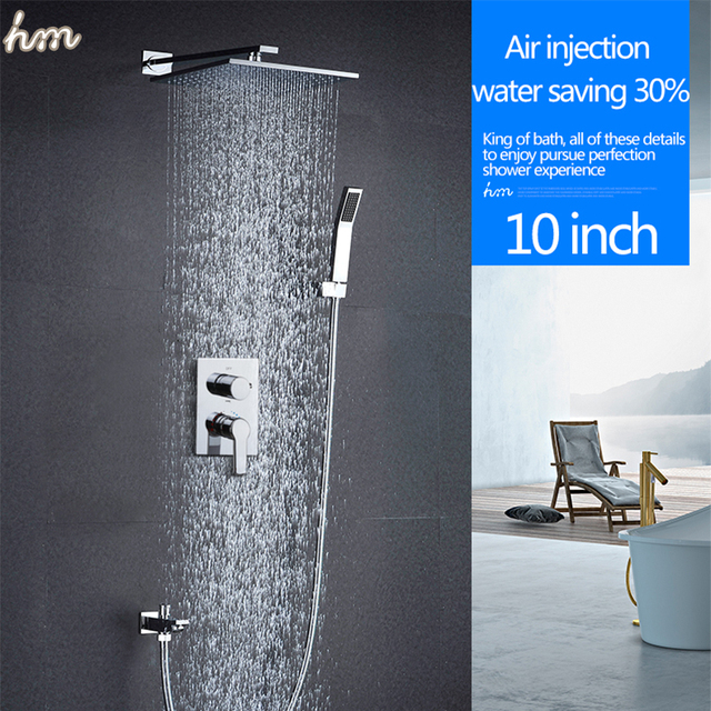 Bathroom Faucet Accessories 10inch Rainfall Air Injection Water Saving Shower Head Set Wall Mountd Polished