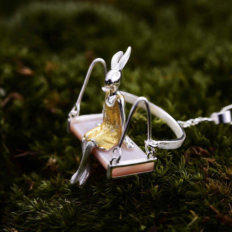 Lotus สนุก Moment จริง 925 เงินสเตอร์ลิง Mother of Pearl Handmade แฟชั่นเครื่องประดับ MISS กระต่ายจี้โซ่