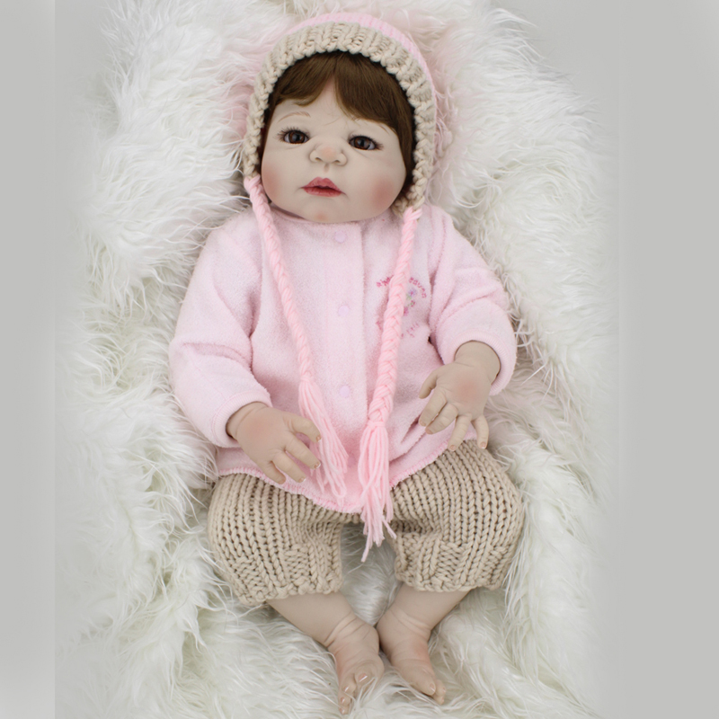 New 22inch Full body silicone reborn baby doll toys lifelike new born babies kids child Christmas Birthday Gift Girl Brinquedos