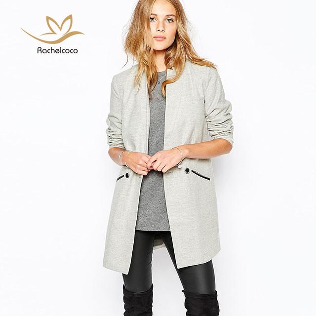 2016 outono inverno de médio longo Blazer de manga comprida gola casaco fino fêmea cinza claro de um único botão jaqueta Workwear terno