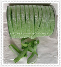 50yards lot Non stretch 1 5 Frosted Jasmine Green Glitter Ribbon