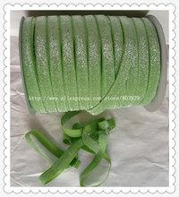 """(50 jardas/lote) Não-stretch 1.5 """"Fosco Jasmine Verde Glitter Ribbon"""