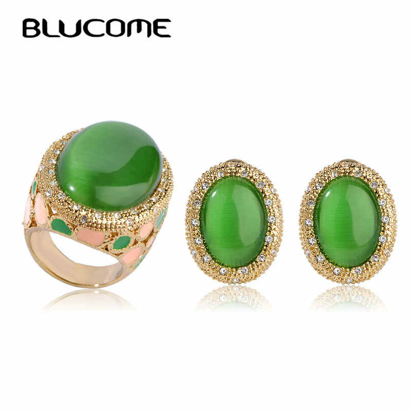 Blucome Big Green Opals Jewelry Sets For Women Gold Color Wide Ring Earrings Set Royal Style Wedding Bijoux French Hooks Brinco