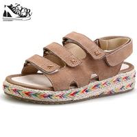 Genuine Leather Espadrilles Women Platform Sandals Cowhide Three Band Gladiator Sandals Women Fisherman Shoes Beach Sandals