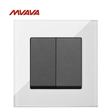 MVAVA 2 Gang 1/2 Way Light Switch Electrical Wall Decorative Contol Push Button Luxury White Crystal Glass Free Shipping