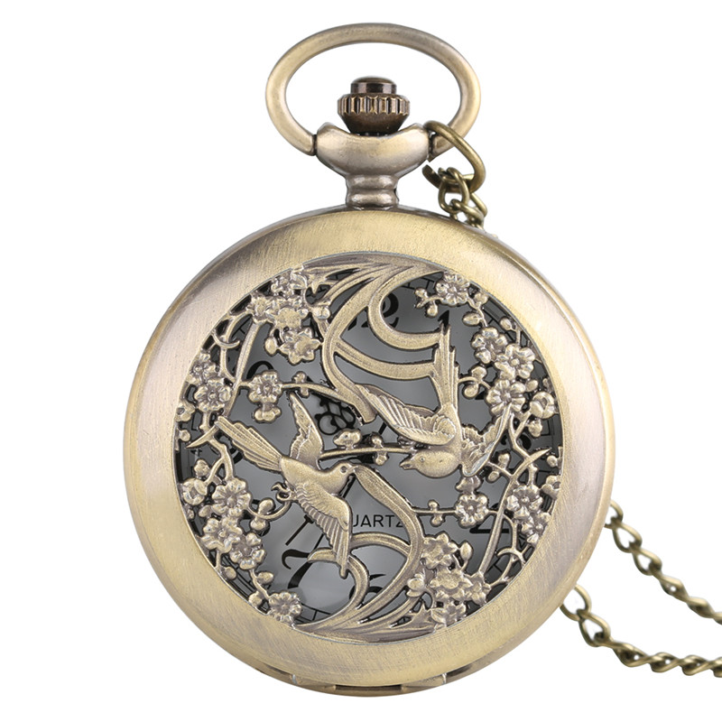 Bronze Magpie Hollow Case Pocket Watch Fashion Pendant Necklace Chain Analog Quartz Half Hunter Necklace Clock Accessory Gifts