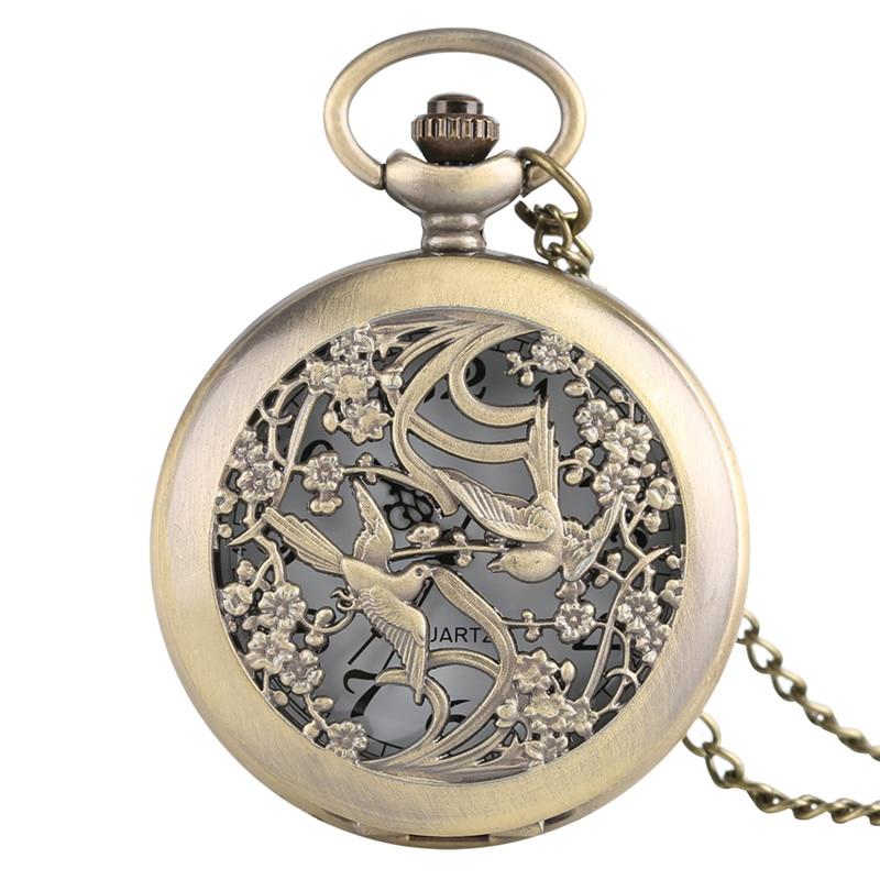 Bronze Magpie Hollow Case Pocket Watch Fashion Pendant Necklace Chain Analog Quartz Half Hunter Necklace Clock Accessory Gifts