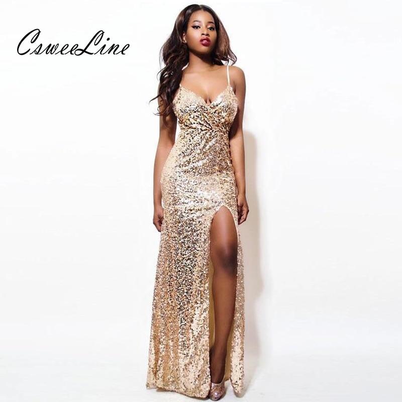 47b8ef4e0 Largo Correa Fiesta Sexy Elegante Oro Las Honda Corte Vestidos Club Gold  Brillante Lentejuelas Maxi Y Vestido De Noche Mujeres Split xPwnq1Saf