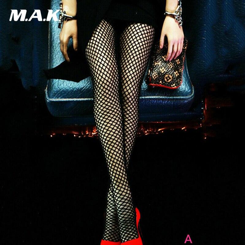 custom 1/6 scale girl young lady Scale Feeltoys FT011 Long Fishnet Socks Ultra-thin Elastic Black Stockings Figure