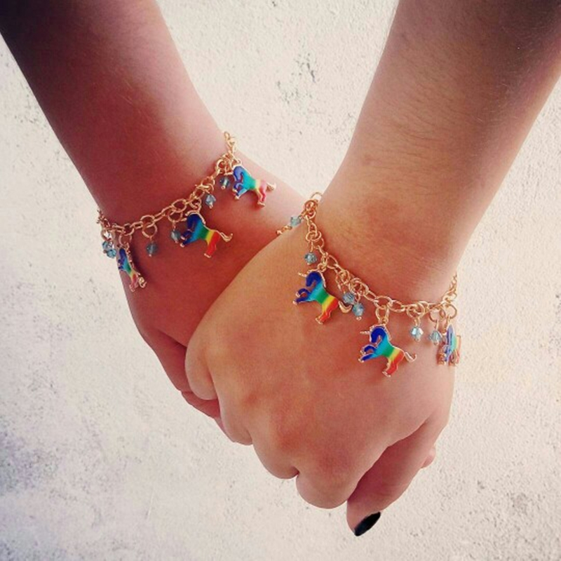 Enamel Unicorn Bracelet For Women Horse Charms Pulseira Brazalete Zodiac Animal Bracelets Best Friend Gift Braccialetti In Chain Link