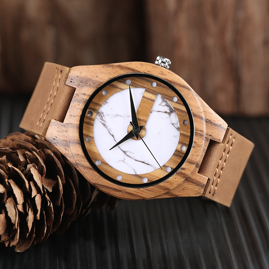 Unique Letter C Shape Luxury Green Marble Dial Men's Watch Genuine Leather Wooden Watches Quartz Watches Men Relogio Masculino Gifts (21)