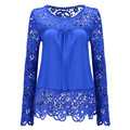 2017 Spring Fashion Plus Size Women Chiffon Blusas Blouse Sexy Hollow Lace Women Shirt Long Sleeved Fashion Casual WomenTops