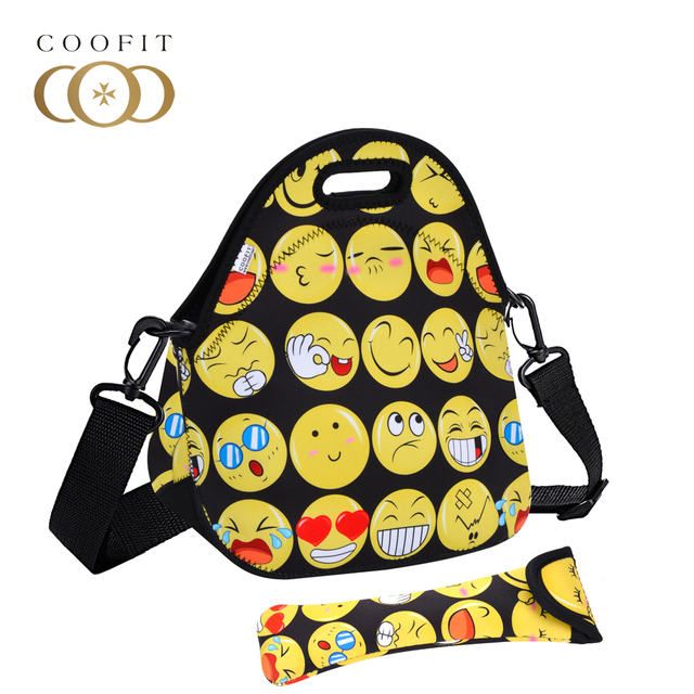 Coofit Neoprene Lunch Bags Cat Owl Emoji Face Pattern Lunchbox Waterproof Picnic Box For Students Unisex bolsa termica lancheira Cosmetic Bags