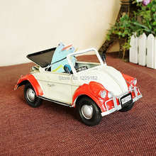 Handmade Classic Car model with surfboard Vintage metal craft shooting props Creative Bar/Pub/Cafe decoration kids gift