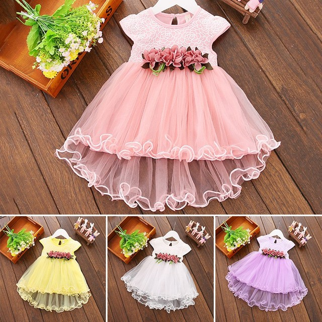 Cute Baby Girls Summer Floral Dress Princess Party Tulle Flower Dresses Toddler Infant Girls Mesh Tutu Dress 0-3Y Clothing