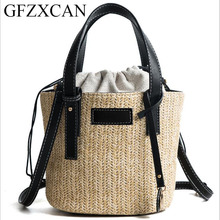 GFXZCAN brand 2018 new fashion straw bag ladies single shoulder diagonal woven bucket trend handbag