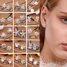 LNRRABC Fashion New Women Earrings Pearl Stud Earrings Alloy Animal Cute Crystal Gift Korean Version