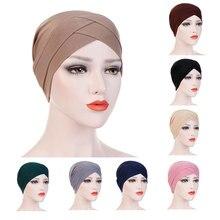 Chapeau élégant et extensible pour femmes, Turban, couvre tête, croix frontale indienne, chimio, couleur unie, Bandana, écharpe musulmane, Hijab, casquette, 2020