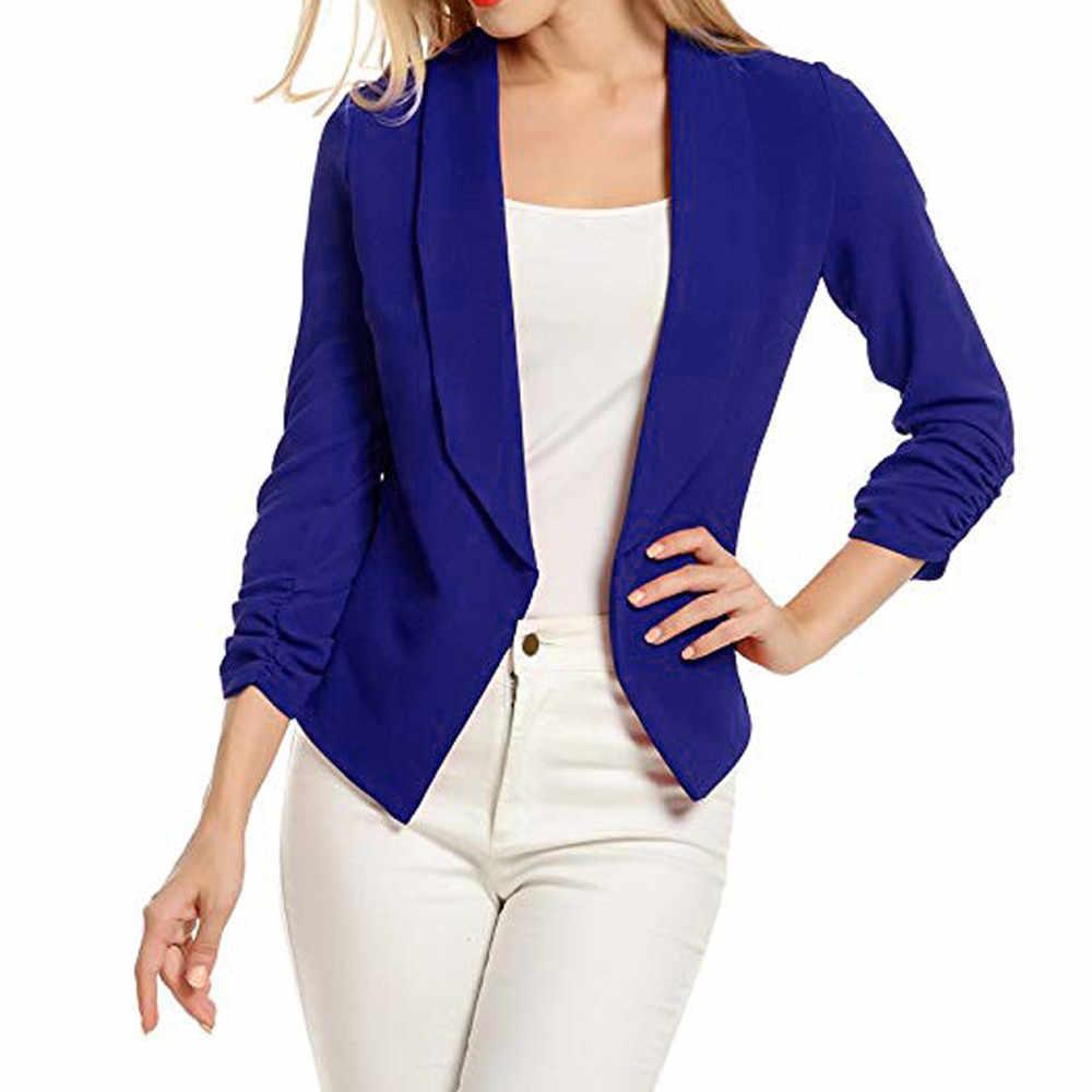 2018 春薄型スリムフィット女性フォーマルジャケット 3/4 袖ブレザー事務固体レディースショートブレザーコートホット販売ファッション