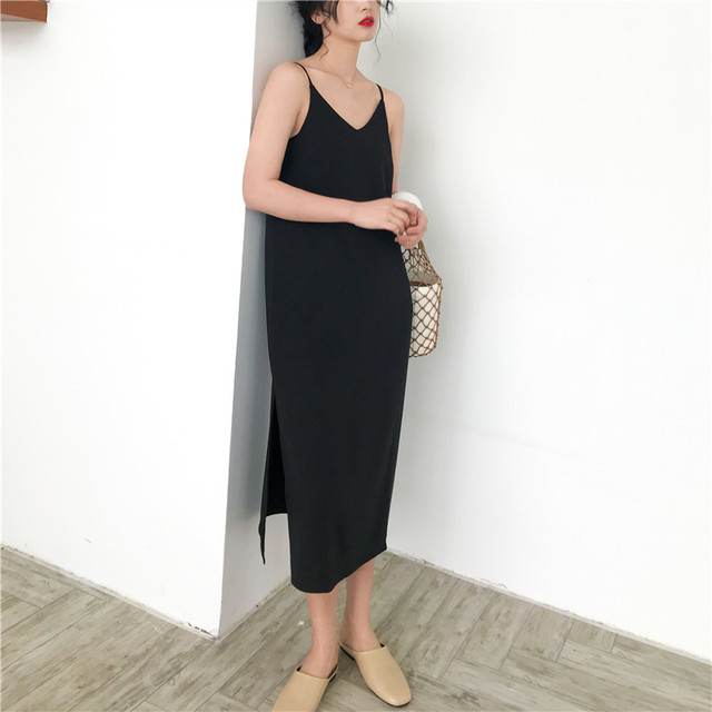 Sexy V-Neck Side Slit Dress Women Sleeveless Off Shoulder Spaghetti Strap Vogue Loose Sexy Club Elegant Dresses Female 2020 Hot 4