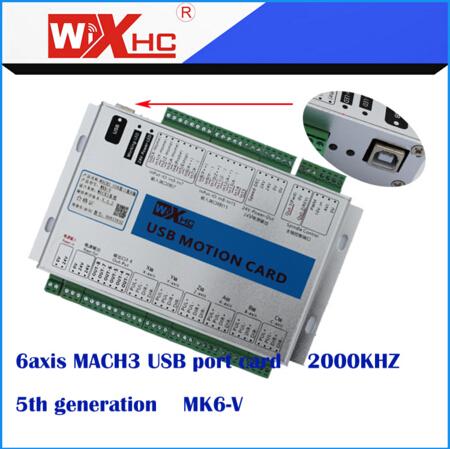 6 Axis mach3 usb CNC Motion Controller breakout board support difference output mach3 usb motion controller card breakout board for cnc engraving 4 axis 100khz