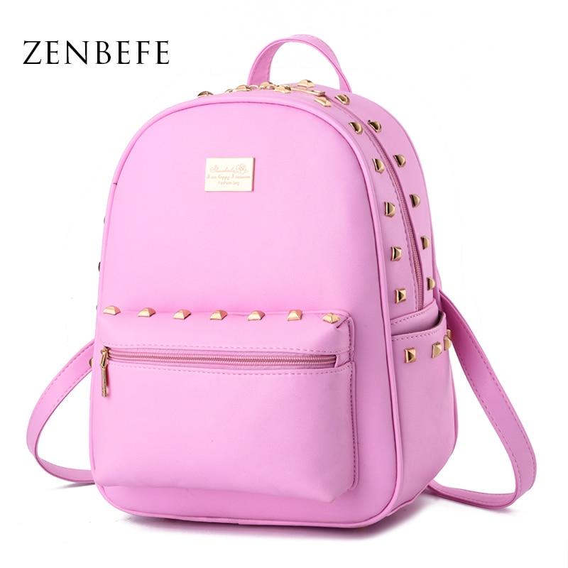 ZENBEFE Cute Design Rivet Women Backpack PU Leather Girl Bag Teenage School Backpack Small Lovely Women Bag For Travel Daily Bag цена 2016