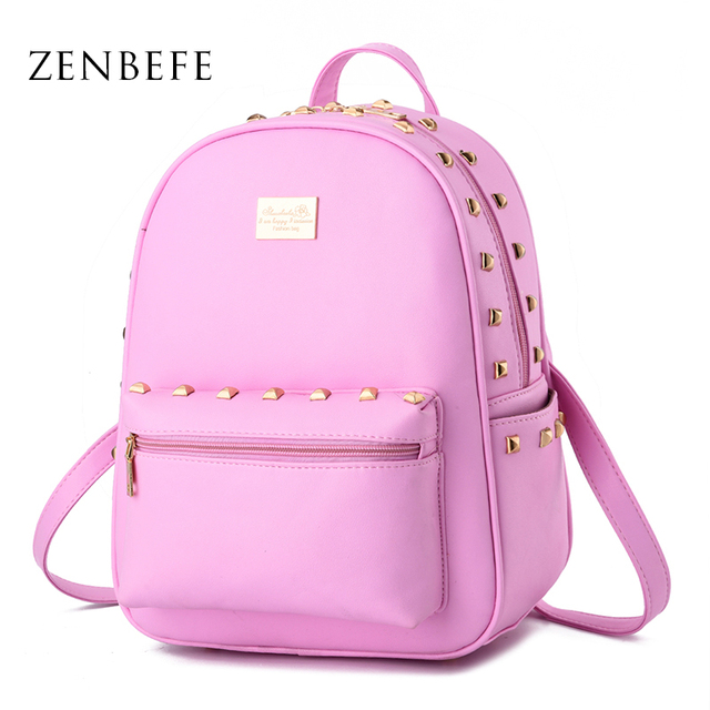ZENBEFE Cute Design Rivet Women Backpack PU Leather Girl Bag ...