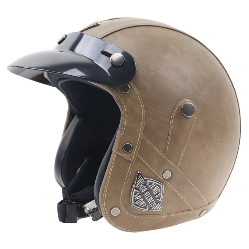 Open Face Retro Vintage Motorcycle Helmet Handmade Leather for Street Bike M