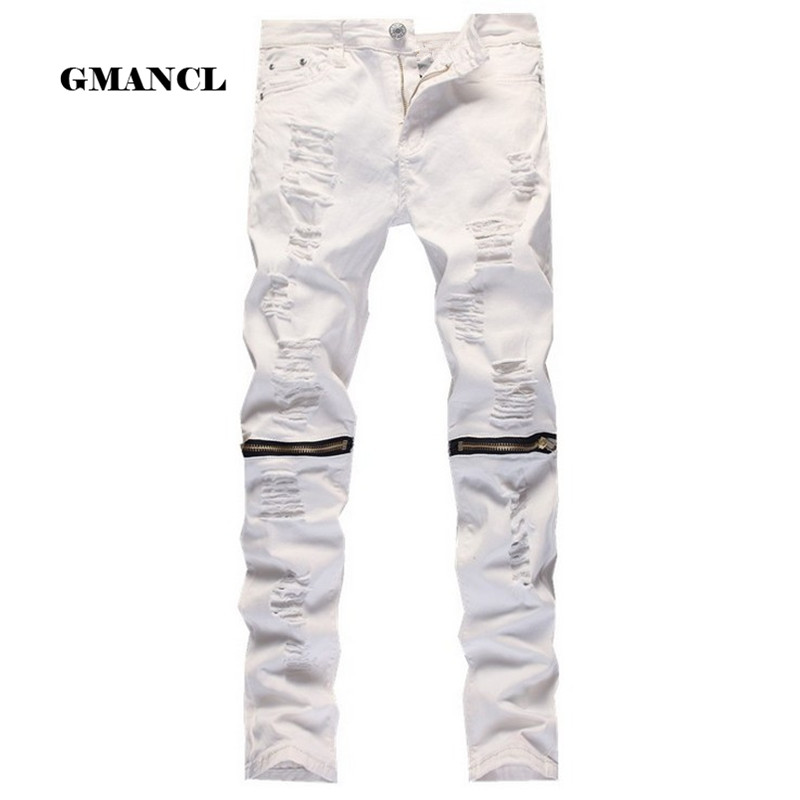 TIFENNY Baby Boy Elastic Zipper Stretch Broken Hole Jeans Pants