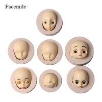 7 STÜCKE 3D Gesicht DIY Puppe Silikonform Schokolade Fondant Handwerk Weihnachten Kuchen Dekoration Form Sugarcraft Form Backen Werkzeug Zufällige farbe