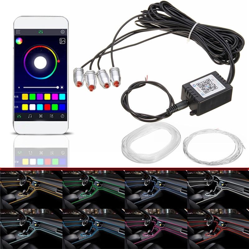 4/5&#215;6.2 м RGB свет салона автомобиля многоцветный Эль неоновые полосы Свет Звук активных <font><b>Bluetooth</b></font> телефон управление Атмосфера свет 12 В