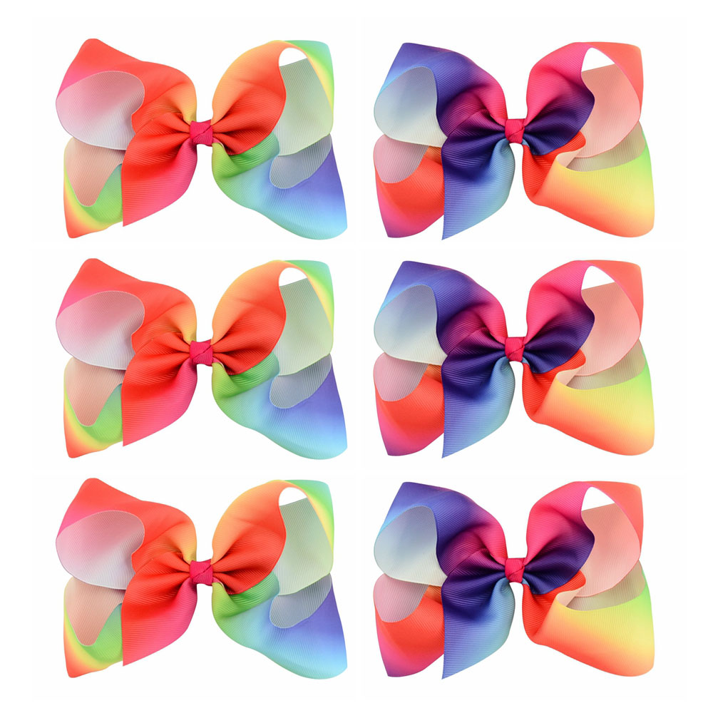 6pcs/lot 6 Inch Large Rainbow Grosgrain Ribbon Bow With ...