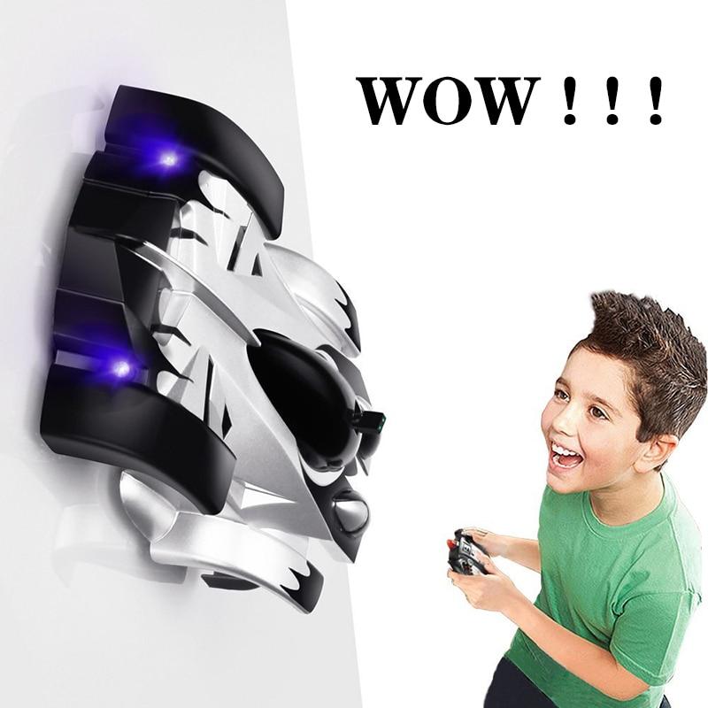 Mini coche RC de escalada en la pared con luces LED Control remoto rotación de 360 grados inducción de carreras de coches juguetes de regalo para los niños
