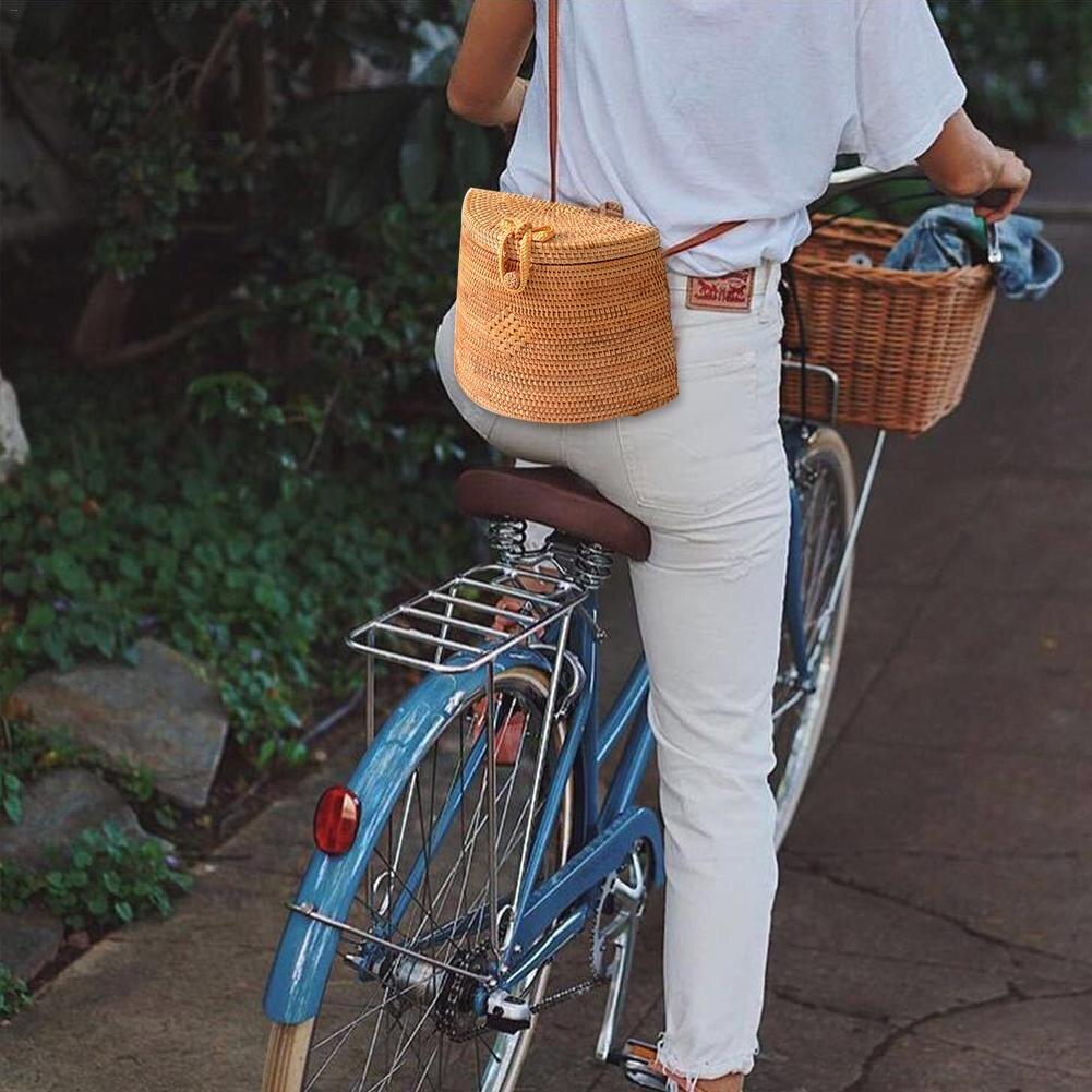 De mimbre Ins estilo paquete cesta estilo Retro, tejida a mano, bolsa de Hansenne al aire libre hombro bolsos bandolera Retro volver bandolera paquete-in Bolsos de hombro from Maletas y bolsas    2
