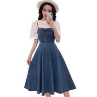 Korean Fashion Spaghetti Strap Dress Women Sundress Summer Denim Dress Sleeveless Fit Flare Lace Up Slim Jeans Overalls Dresses