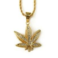Hot Sale 18K Vacuum Plating Hip Hop Double Layer Small Hemp Leaf Pendant Necklace