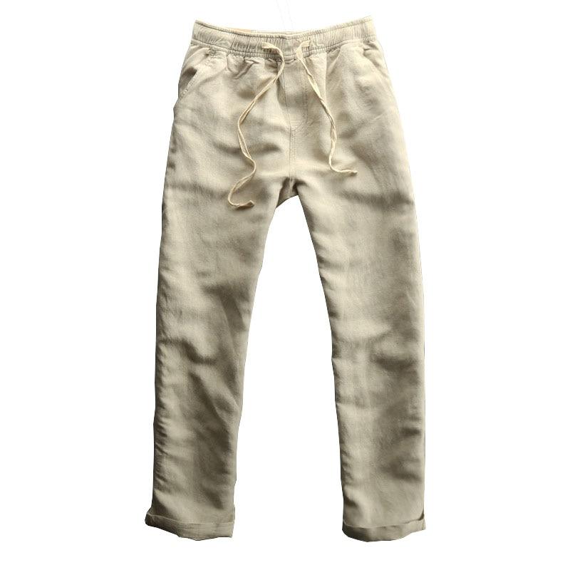 Breathable Linen Pants Men Asian Size M 3xl Casual Slim Fit Soft Men