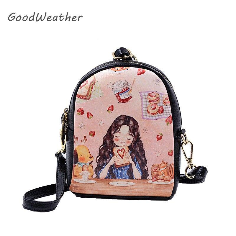 Designer bärbar mini tecknad ryggsäck för flicka högkvalitativa spilld läder ryggsäckar mode söt axelväska ryggsäckar
