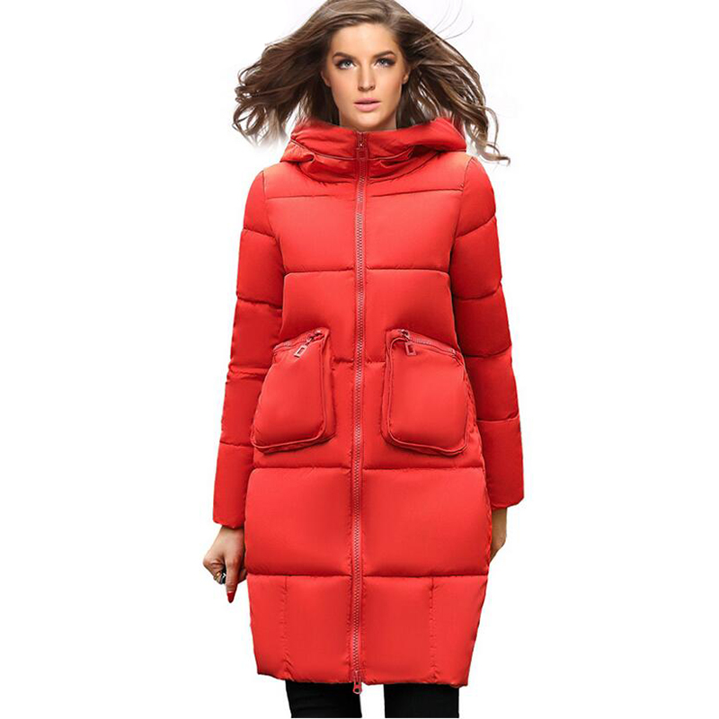 2017 New Winter Warm Thicken Long Parkas high quality Fashion Slim Hooded Cotton Padded Jacket Big Pocket Women Coat Zipper 5L31 2017 new winter coat for women slim black solid hooded long warm cotton parkas female thicker zipper red jacket padded
