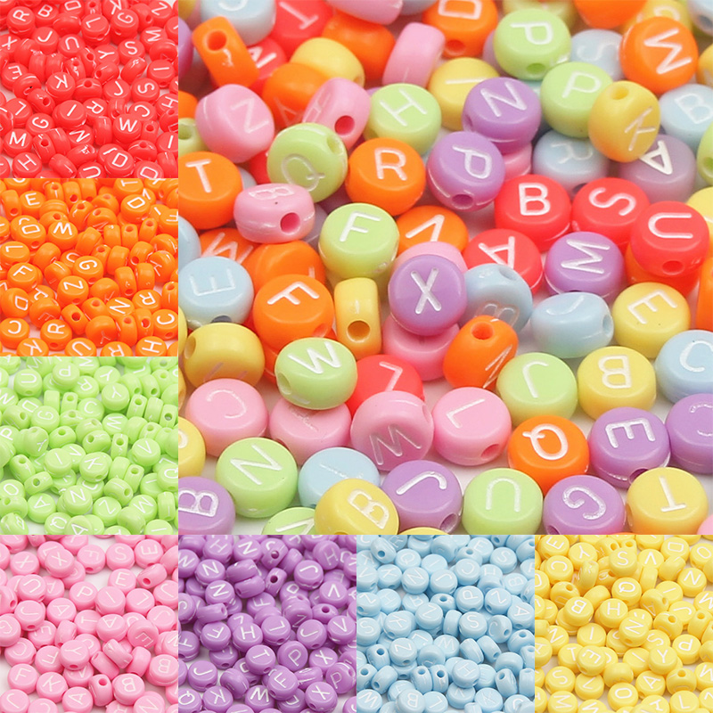 flat round 4 mm x 7 mm acrylic alphabet letter transparent colourful beads