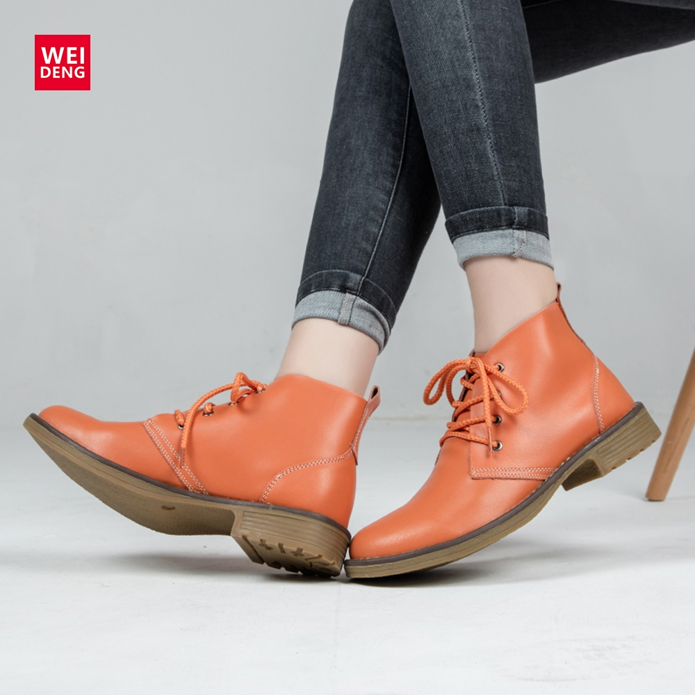 WeiDeng 6 Color Genuine Leather Women Boots Fashion Winter Lace Up Classic Shoe High Style Flats Casual Shoes Boots Waterproof